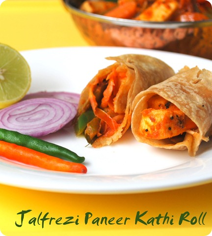 Kathi Roll with Paneer Jalfrezi